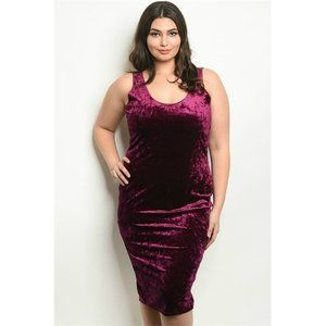 Zenobia Purple Crushed Velvet Bodycon Midi Dress